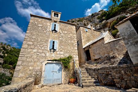 hermitage: Pustinja Blaca hermitage in Brac island canyon view, Dalmatia, Croatia Stock Photo