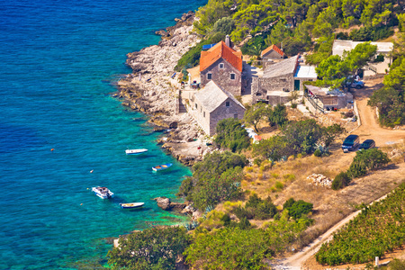 brac: Idyllic fishermen village on Brac island coast, Dalmatia, Croatia
