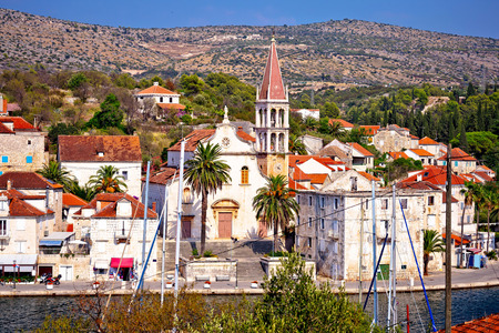 brac: Town of Milna waterfront on Brac island, Dalmatia, Croatia Stock Photo