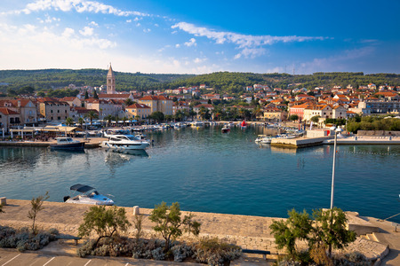 brac: Town of Supetar waterfront view, Dalmatia, Croatia Stock Photo