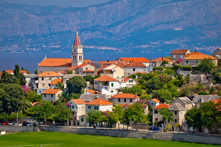 brac: Postira on Brac island skyline view, Dalmatia, Croatia Stock Photo