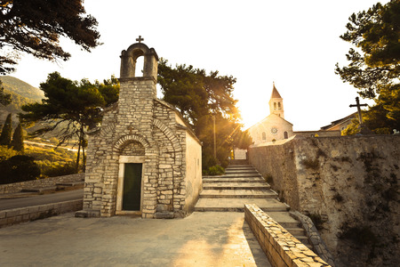 Stone chappel and church in Bol, island of Brac, Dalmatia, Croatia