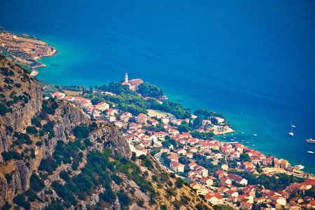 brac: Town of Bol from Vidova Gora aerial view, Island of Brac, Dalmatia, Croatia