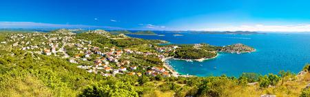 Drage Pakostanske panoramic aerial view with Kornati islands national park, Dalmatia, Croatia