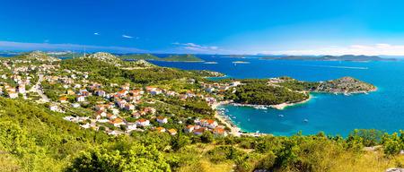 kornat: Drage Pakostanske panoramic aerial view with Kornati islands national park, Dalmatia, Croatia