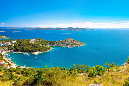 kornat: Adriatic archipelago aerial summer view, bay of Drage Pakostanske, Dalmatia, Croatia