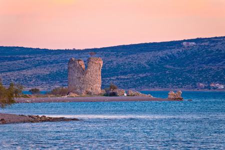paklenica: Starigrad Paklenica tower ruins by the sea, Dalmatia, Croatia