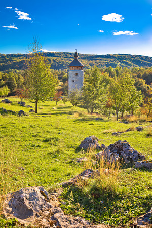 Dreznik Grad tower in Korana canyon, Plitvice lakes national park of Croatia Stock Photo
