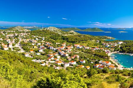 kornat: Drage Pakostanske village coast aerial view, Dalmatia, Croatia Stock Photo