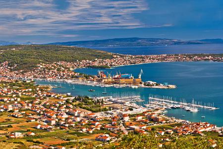 kornat: Trogir shipyard and Ciovo island aerial view, Dalmatia, Croatia