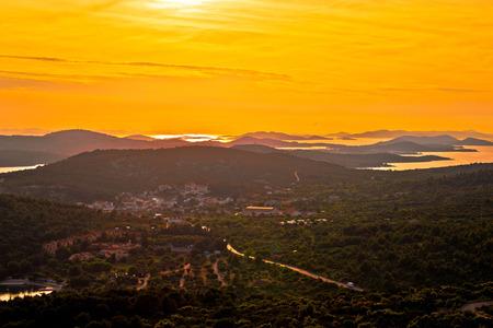 kornat: Island of Murter and Adriatic archipelago yellow sunset aerial view, Dalmatia, Croatia