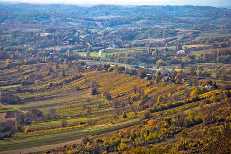 wine road: Aerial autumn view of vineyard region of Prigorje, Croatia