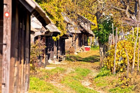 Historic wooden cottages street Ilica, Prigorje region of Croatia