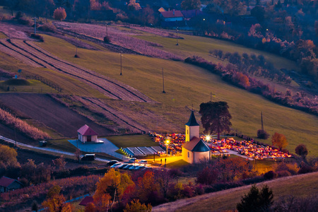 Idyllic church and graveyard evening view from above, Prigorje region of Croatia