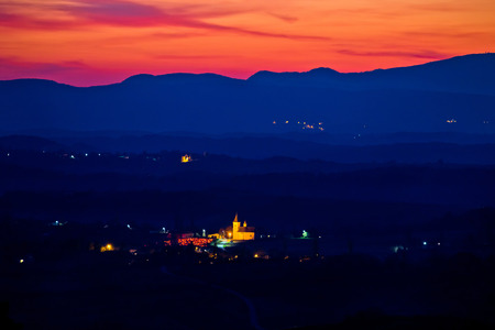 kalnik: Blue landscape at red sundown in Prigorje region of Croatia, Dropkovec village