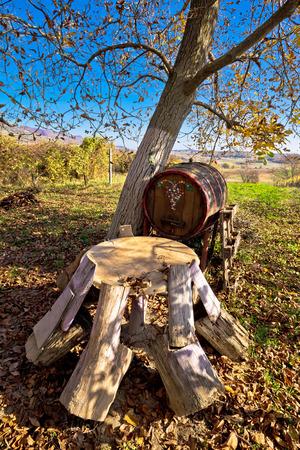 Wooden seat and barrel in vineyard autumn view, Prigorje, Croatia