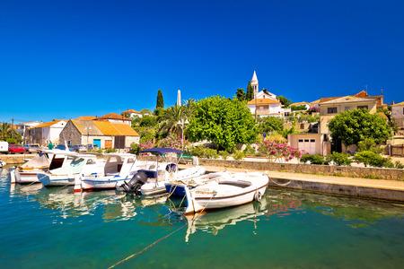 Town of Kali turquoise waterfront, island of Ugljan, Croatia Stock Photo