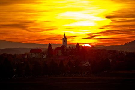 Sveti Petar Orehovec village at sunset, Prigorje region of Croatia Stock Photo
