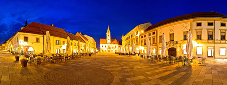 Town of Varazdin central square panorama, baroque town in northern Croatia Stock Photo