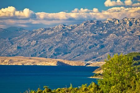 Pag island bridge and velebit mountain view, Croatia, Dalmatia