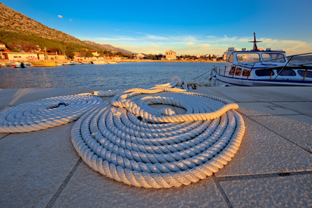 starigrad: Boat rope at sunset view, Starigrad Paklenica village in Croatia Stock Photo