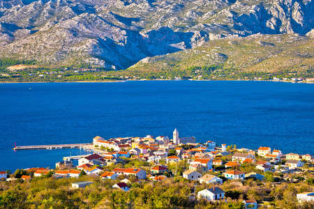 Green nature and blue sea, view of Town of Vinjerac and Paklenica national park on Velebit mountain
