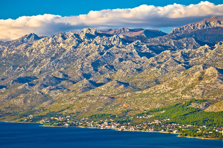 starigrad: Starigrad Paklenica and Velebit mountain view, Lika, Croatia Stock Photo