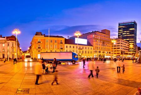 central square: Zagreb central square evening view, capital of Croatia