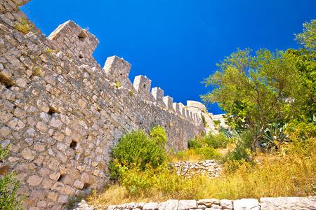 hellish: Famous Hvar island wall and mediterranean landscape view, Dalmatia, Croatia Stock Photo