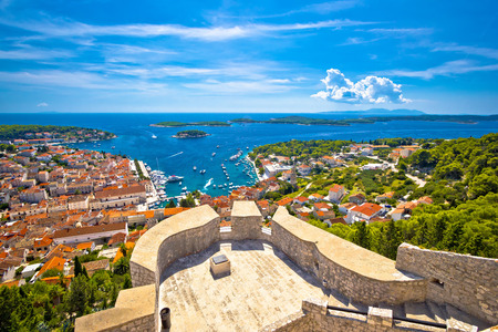 hellish: Island of Hvar and Paklinski islands panoramic aerial view from hill, Dalmatia, Croatia Stock Photo