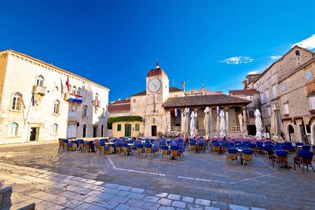 croatian: UNESCO Town of Trogir main square view in Dalmatia, Croatia
