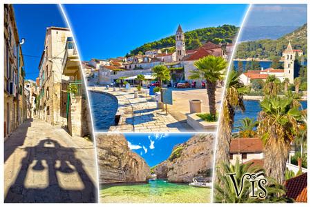 croatian: Island of Vis tourist postcard, architecture and nature of Dalmatia, Croatia  (with label) Stock Photo
