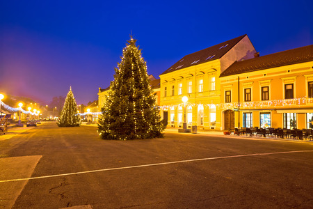 advent time: Town of Koprivnica advent time evening view, Podravina region of Croatia