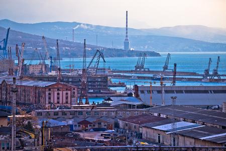 shipbuilding: Industrial and port city of Rijeka, Kvarner bay, Croatia Stock Photo