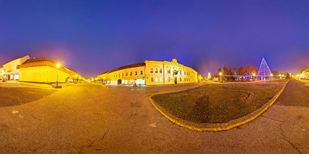 advent time: Town of Koprivnica advent time evening view, spherical panorama of Podravina region in Croatia