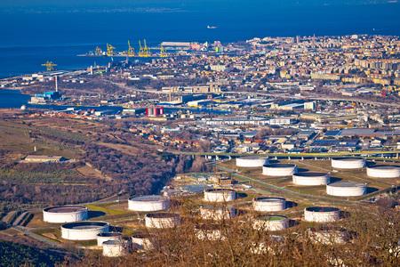 shipbuilding: City of Trieste aerial view of industrial zone, capital of Friuli-Venezia Giulia region in Italy