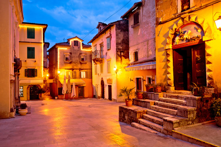 Town of Lovran square evening view, old architecture of Kvarner, Croatia