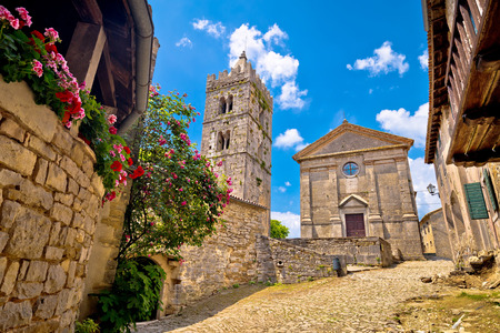 Town of Hum old cobbled square and church view, region of Istria, Croatia