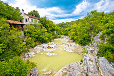 Mirna riverbed in Kotli view, green landscape of Istria, region of Croatia Stock Photo