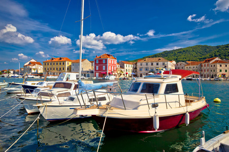 starigrad: Town of Starigrad on Hvar island colorful waterfront view in Dalmatia, Croatia Stock Photo