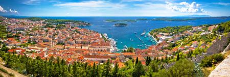 hellish: Island of Hvar bay aerial panoramic view, Dalmatia, Croatia Stock Photo