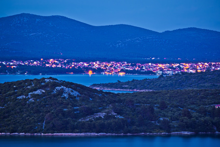 Island of Murter and town of Tisno evening view, Dalmatia, Croatia