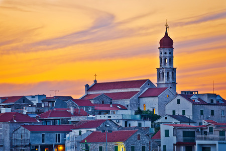 betina: Town of Betina skyline at sunset, mediterranean landmarks on Murter island, Dalmatia, Croatia