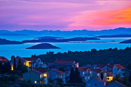 kornati national park: Archipelago of Murter island at sundown, Dalmatia, Croatia