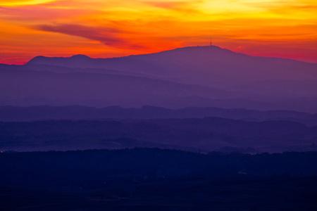 Colorful sunset layers of Prigorje region, northern Croatia Stock Photo
