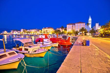 Bol on Brac island colorful evening view, harbor and seafront at dusk, Dalmatia, Croatia