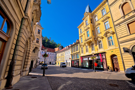 Old town of Ljubljana colorful street and architecture, capital of Slovebia