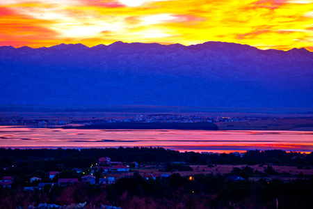 Vir and Pag islands at dawn, with Velebit mountain background, Dalmatia, Croatia