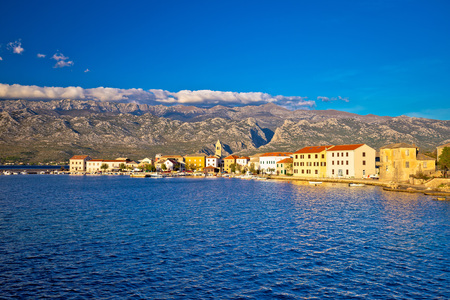 View of Town of Vinjerac with Velebit mountain background, Croatia Stock Photo