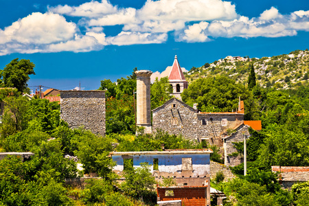 Town of Drnis old church and minaret ruin of Ottoman empire mosque, inner Dalmatia, Croatia